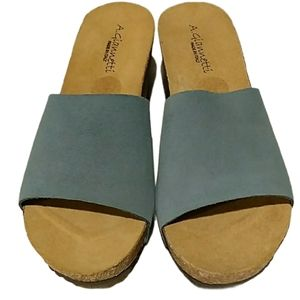 A. Giannetti Italy Suede Wedge Sandals NEW …